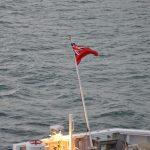 Union Jack on te aft of MS Dunkerque Seaways